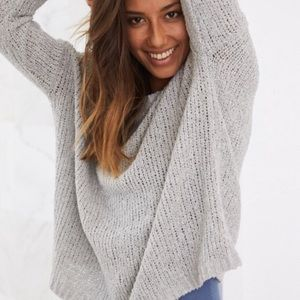 Aerie Gray Knit Gray Pullover Sweater
